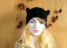 Cap Cat Kitty Cat Hat Womens Black - Hat cat - Ladies beanie ''Black Cat Beanie''! Hand knitted, seamless. Available in many colours.