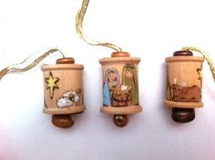 Nativity Wooden painted Spool Ornament- Nice way to recycle my wooden thread spools! Christmas Ornaments To Make, Christmas Nativity, Christmas Wood, Homemade Christmas, Christmas Projects, Holiday Crafts, Christmas Holidays, Christmas Decorations, Pre Christmas