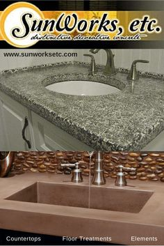 Concrete countertops work well in all rooms of the home. Beautiful custom designs handmade to match any decor. SunWorks, etc. of Annville PA. Explore our online picture gallery www.sunworksetc.com #DecorativeConcrete #Sunworksetc #bathroom #design #concrete #decor #remodel