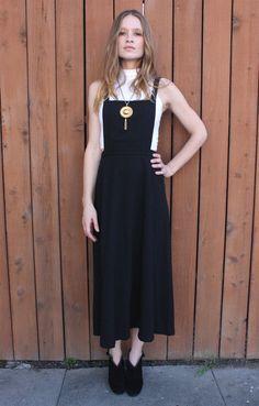 Vintage Black Overall Midi Dress by ExcavationLA on Etsy, $65.00