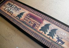 WELCOME CABIN MOOSE Country Lodge Cabin Wall Decor Sign Northwoods Signs.