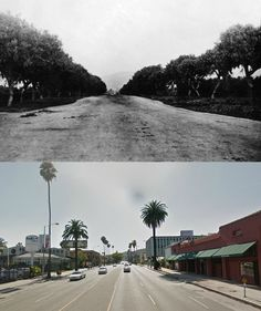 Sunset Boulevard, Looking west from Wilcox near Edgemont, 1883 & Today California History, Vintage California, California Dreamin', Los Angeles Area, Downtown Los Angeles, Los Angeles Hollywood, San Luis Obispo County, Sunset Strip, City Of Angels