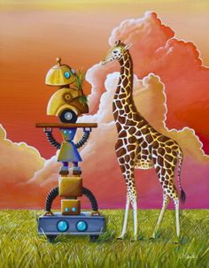When 4 robots go on an African safari and find a giraffe....they improvise.  Their isn't a selfish gear in their body.  Robots share, robots care.  Original painting is now available in print.  Art by Cindy Thornton.  #robotart #artforkids