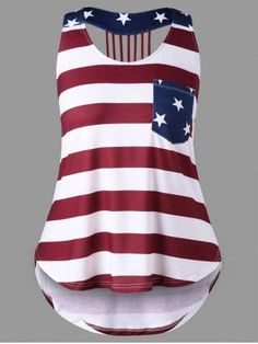 9fd041d5f4a Plus Size Open Back American Flag Tank Top - Xl Spandex Summer