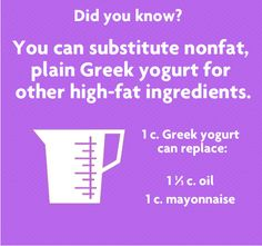 Greek yogurt is tasty on its own, but it's also a great replacement for oil or mayonnaise. Learn how to use it in your recipes.