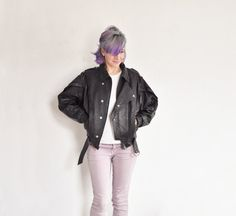 80s thriller worthy leather jacket . puffy black by DOTTO on Etsy