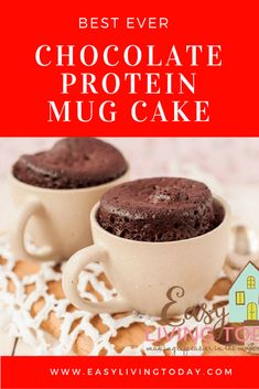 Best ever chocolate protein mug cake for clean eating! Tastes like regular chocolate cake! 21 day fix approved dessert as well Best Ever Chocolate Protein Powder Mug Cake Recipe for Clean Eating Mug Cake Protein Powder, Protien Mug Cake, Protein Cake, Protein Powder Recipes, Keto Mug Cake, Chocolate Protein Powder, Healthy Chocolate, Protein Muffins, Protein Cookies