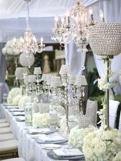 White and Bling wedding decor... Just add light peachy pink!