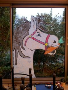 * Window Paint Amerigo From Saint Nicolas * Saint Nicolas, Decoration, Moose Art, Crafts For Kids, Saints, Display, School, Holiday, Window Paint