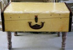 Vintage Suitcase Side Table by QuirksByAnnie on Etsy, $125.00 | #vintage #suitcase #table #home #decor