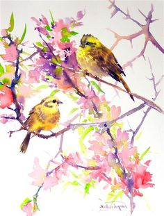 Love this watercolor paintingfrom UGallery.Yellowhammers and Spring Blossom by Suren Nersisyan