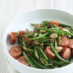 Sausage and Green Bean Stir Fry (omit almonds, use a low-fat turkey or chicken sausage)
