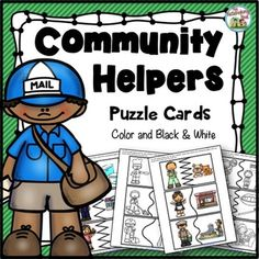 This set includes puzzle cards in both color and black and white. Community Helpers For Kids, Reading Comprehension Activities, Study History, Graphic Organizers, Classroom Activities, Teacher Newsletter, Social Studies, Puzzle, Kindergarten