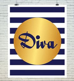 Diva Wall Art Print Quote Saying Wall Decor by BubblewaterDesigns