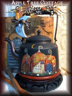by Martha Smalley of Apple Tree Cottage Painted Pots, Hand Painted, Painted Metal, Vintage Tea Kettle, Pintura Country, Halloween Painting, Country Paintings, Primitive Crafts, Chocolate Pots