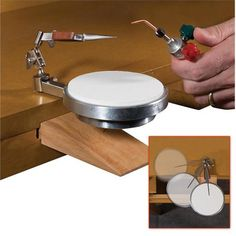 Combination heat resistant torch platform and tweezers mounts to your bench and can swing out of the way and rotate for convenience. Used with any torch for soldering jewelry, watches, electronics, and more.