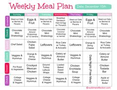 Clean Eating Meal Plan- I like this idea of a spread sheet for planning out all meals for the week.