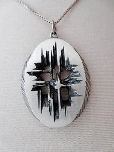 Karl Laine for Sten & Laine (FI), modernist sterling silver oval-shape pendant/necklace, 1970s. #finland #ebay | finlandjewelry.com