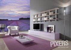 Living room & lavender wall mural