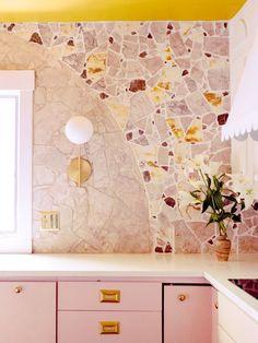 DIY mosaic backsplash Mosaic Backsplash, Kitchen Backsplash, Backsplash Ideas, Mosaic Tiles, Kitchen Sink, Large Plastic Storage Bins, Yellow Marble, Tile Stores, Terrazzo Flooring