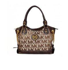 Michael Kors Cheap Jacquard Monogram Bags & Handbags Large Brown Satchels Outlet