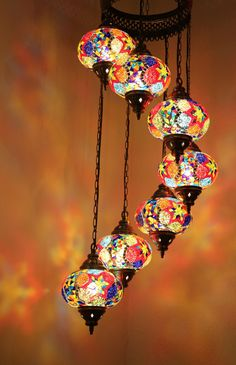 Multicolour Turkish Mosaic Hanging Lamp Light Hand Craft 7 Large Mosaic Globe