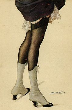Risque Legs ~ French Antique illustration by Leo Fontan Vintage Mode, Vintage Shoes, Vintage Cards, Vintage Postcards, French Postcards, Vintage Magazines, Vintage Artwork, Vintage Prints, Paula Bonet