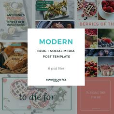 Modern Blog and Social Media Branding Kit is Modern and clean that highlights your amazing blog images and photos with your distinct brand.  This package includes seven different Photoshop template files that you can customize to to suit your content and brand. Visit my etsy to get yours now! Blog Post Branding Kit, Blog Template, Social Media Template, Blog Graphics, Social Media Branding by BlondeCoffeePrints on Etsy