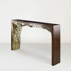 Joe Console in pyrite and blackened sycamore. Designed by Jallu, pyrite furniture, furniture, Jallu Creations 2021, interior design, super yacht interiors, luxe, french craftsmanship, bespoke furniture, custom furniture, made in France, interior design inspiration, artisanat français, ébénisterie, French designer, mobilier design Bespoke Furniture, Furniture Design, Entryway Tables, Console, Luxury Fashion, Collection, Home Decor, Style, Big Architects