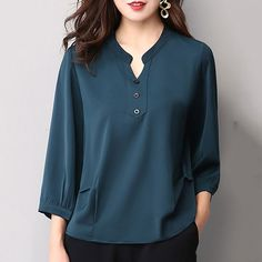 Autumn Spring Women Single Breasted Decorative Button Plain Long Sleeve Blouses … Autumn Spring Women Single Breasted Decorative Button P. Blouse Styles, Blouse Designs, Blouses For Women, Pants For Women, Hijab Fashion, Fashion Outfits, Womens Fashion, Fashion Top, Latest Fashion
