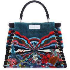Fendi Peekaboo Medium Embroidered Velvet Bag (€9.220) ❤ liked on Polyvore featuring bags, handbags, multicolor, blue satchel handbags, square purse, floral handbags, blue satchel and satchel handbags
