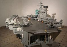 Aircraft Carrier 30 Awesome And Impressive LEGO Sculptures Lego Aircraft Carrier, Lego Boot, Lego Sculptures, Lego Army, Amazing Lego Creations, Lego Ship, Lego Pictures, Lego Construction, Lego Worlds