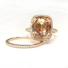 Cushion Morganite Engagement Ring Sets Pave Diamond 14K Rose Gold 10x12mm