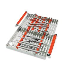 Ortho Banding/Bonding Standard Procedural Set-Up   W/ Double-Decker® 20 Instrument Orthodontic Cassette - Orange