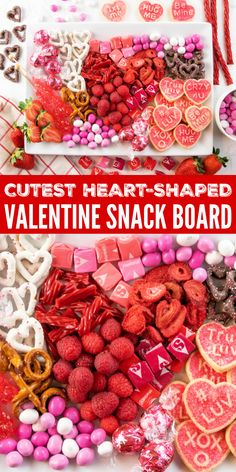 Valentine Snack Board is a cute heart shaped dessert board full of red, white and pink snacks. A fun and festive Valentine