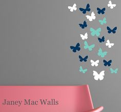 Vinyl Butterfly Wall Decal Set  CG107A    {SIZE}  Butterflies range from 3 - 5.5 wide    {WHATS INCLUDED}  20 Butterflies    {COLORS}  Decal set
