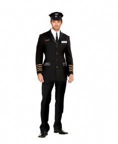Men's Plus Size Airplane Captain Costume - Grab your flight attendant and fly high in this awesome mens' pilot Halloween costume. This costume is a nice black blazer that is traditional to all pilots. It has gold buttons that dot down the front, silk pockets and lapels, and 4 gold strips around the cuffs. There is a badge sewn on the right chest with wings and a gold star. #captain #yyc #costume #uniform