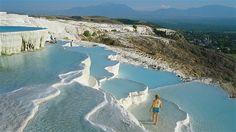 Image: Pamukkale, Turkey were formed by deposits of sedimentary rock from abundant hot spring.  http://www.alexshay.com/
