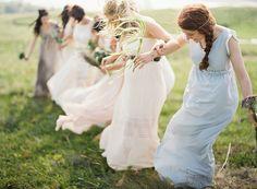 Unique Outdoor Wedding Bridesmaid Dresses via oncewed.com #wedding #bridesmaid #dresses #blue #pink #neutrals