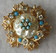 Vintage Pin Brooch Miriam Haskell Pearls Turquoise
