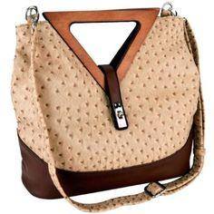 Exotic Tan / Brown Ostrich-embossed Turn-lock Top Double Wood Triangle Handles Large Hobo Tote Satchel Handbag Purse Shoulder Bag,