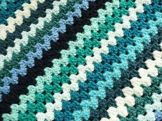 crochet baby blanket stripes | Crochet baby blanket sea blue green stripes by bedtimeblues