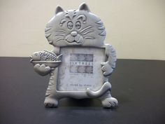 Sixtrees Cat Kitten with fish Picture Frame Metal Pewter Table Top Stand TU3 #Sixtrees #Modern