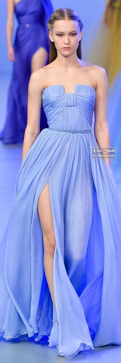 Stunning Blue Strapless Gown Thigh High Slit Elie Saab Spring 2014 Couture