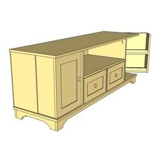 Yes, you can DIY a media console with doors sized perfectly for DVDs, roomy drawers, and even a generous spot for gaming and media equipment. This free, step by step plan is inspired by Pottery Barn's Cynthia Console, with cottage styling, two doors each with two shelves sized for DVD, two roomy drawers as well as cabinet storage. Fits flat panel tvs.