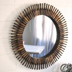 Image result for round rustic mirror Farmhouse Wall Art, Antique Farmhouse, Reclaimed Wood Frames, Round Wall Mirror, Wall Mirrors, Rustic Mirrors, Mirrors Wayfair, Farmhouse Style Decorating, Front Door Decor
