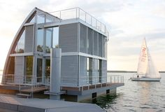 Floating Lake House inspired by sailboats designed by German architects Steeltec37