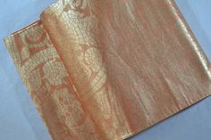 Vintage Japanese Silk Fukuro Obi Belt - Orange brown & Gold Karakusa Flower - 4 metres long