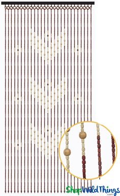 """We are so pleased to add this delightful new curtain """"Hazel"""" to our outstanding collection of wood beaded curtains!  Using mixed shaped beads in contrasting colors, this curtain has a striking pattern"""