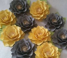 Large paper flowers yellow paper flowers wedding decor paper yellow and gray paper flowers designed by anna fearer paperflowers bridal wedding mightylinksfo